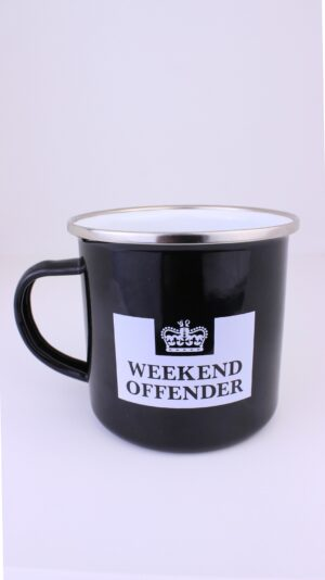 Weekend Offender Enamel Prison Mug Black