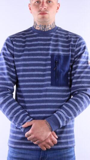 Peaceful Hooligan Stripe Sweatshirt Navy